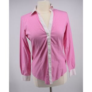 Brooks Brothers pink grid print career button down
